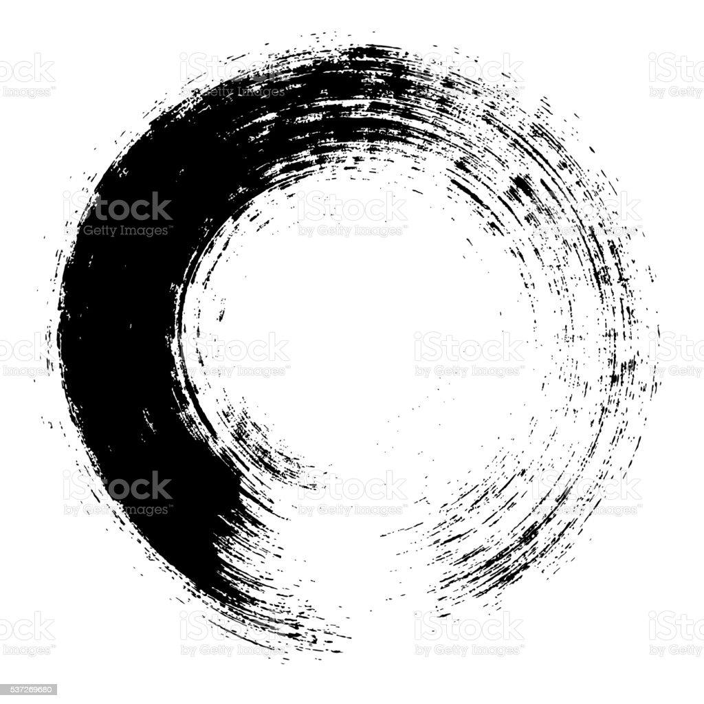 Enso – Circular brush stroke (Japanese zen circle calligraphy n°2) vector art illustration
