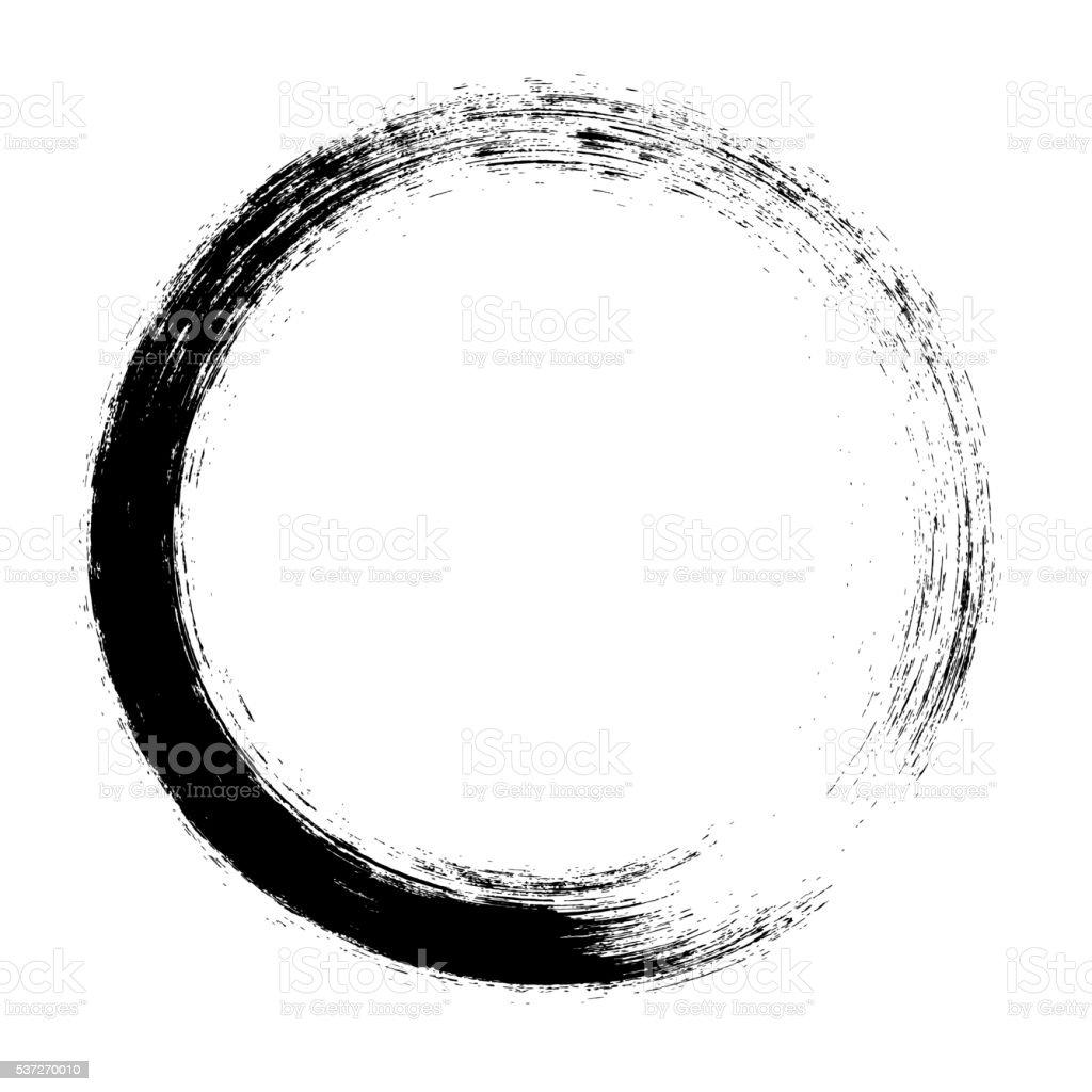 Enso – Circular brush stroke (Japanese zen circle calligraphy n°3) vector art illustration
