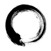 Ensō character in black and white, a circular brushstroke used in Japanese calligraphy and Zen meditation. It represents the state of mind at the moment of creation and symbolizes absolute enlightenment, strength, elegance, the universe, and the void. Comparable to the Taoist sign of yin and yang.