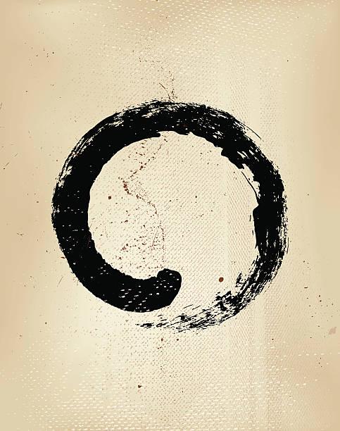 ilustraciones, imágenes clip art, dibujos animados e iconos de stock de enso grunge estilo japonés círculo zen caligrafía: - yin yang symbol