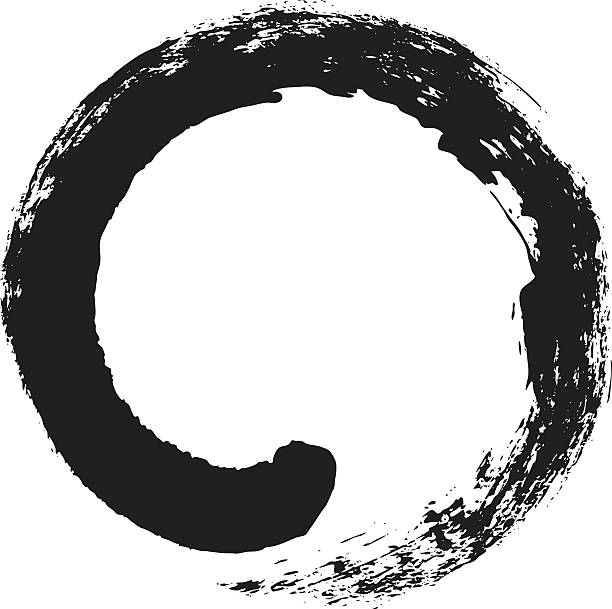 enso – japanese zen circle calligraphy - martial arts stock illustrations