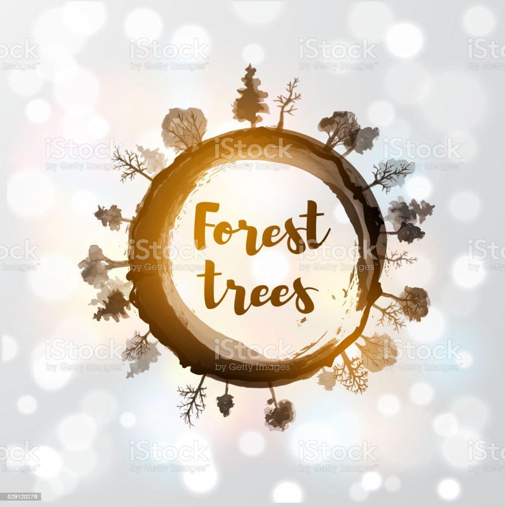 Enso, zen-Kreis Wald Bäume – Vektorgrafik
