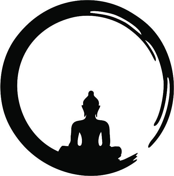 Enso - Zen Circle, Meditation, Buddha The Ensō is a symbol of the Japanese calligraphy and shows the State of mind at the moment of creation. It symbolizes absolute enlightenment, strength, elegance, the universe, and the void. buddha stock illustrations