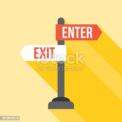 istock enter and exit sign post direction 820848070
