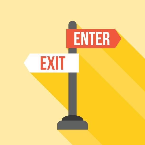 enter and exit sign post direction – artystyczna grafika wektorowa