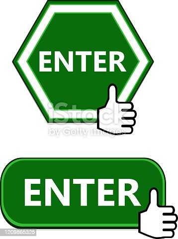 Enter button collection with thumbs up sign.