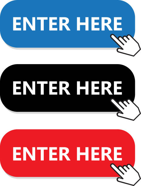 Enter Here Button Collection With Hand Pointer Enter here button collection with a hand pointer. enter key stock illustrations