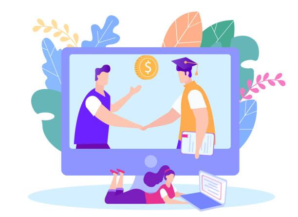 ilustrações de stock, clip art, desenhos animados e ícones de enter into e-learning contract. receive an award. - going inside eye