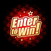 Vector of enter to win headline with red color star shape pattern background. EPS Ai 10 file format.