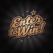 Vector of gold colored enter to win headline with starburst background. EPS Ai 10 file format.