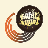 Vector of enter to win headline with color direction arrow background. EPS Ai 10 file format.