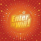 Vector of enter to win headline in orange dotted color background. EPS Ai 10 file format.