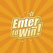 Vector of enter to win headline in orange color background. EPS Ai 10 file format.