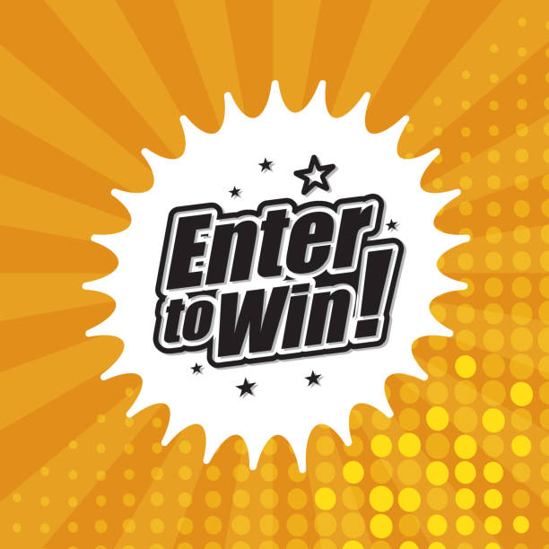Enter to win banner Vector of enter to win headline in orange dotted color background. EPS Ai 10 file format. lottery stock illustrations