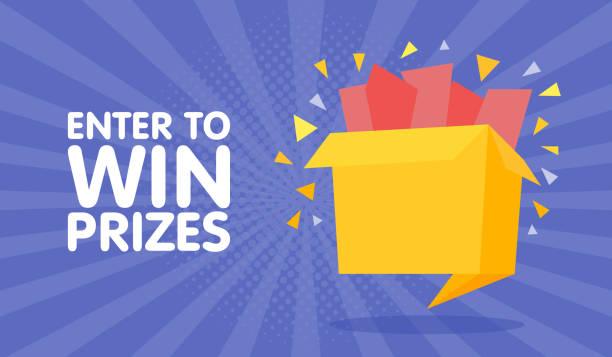 Enter to win prizes gift box. Cartoon origami style vector illustration Enter to win prizes gift box. Cartoon origami style vector illustration. enter key stock illustrations