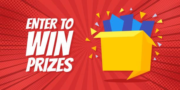 Enter to win prizes gift box. Cartoon origami style vector illustration Enter to win prizes gift box. Cartoon origami style vector illustration. Pop Art background enter key stock illustrations