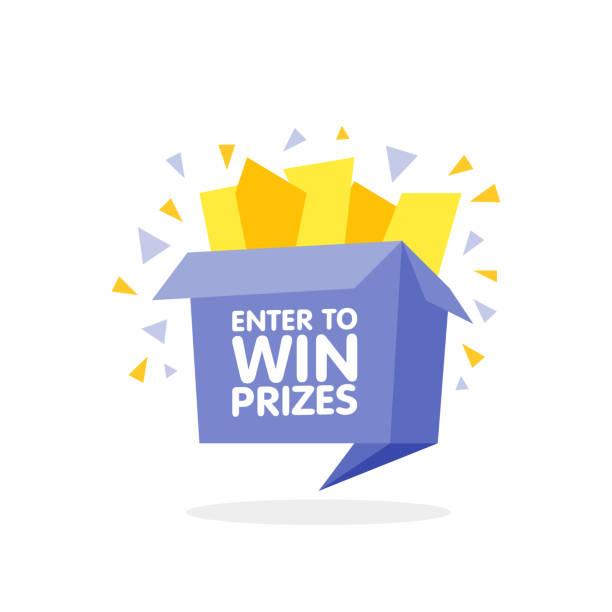 ilustrações, clipart, desenhos animados e ícones de entre para ganhar a caixa de presente de prêmios. ilustração em vetor estilo origami dos desenhos animados. - competição