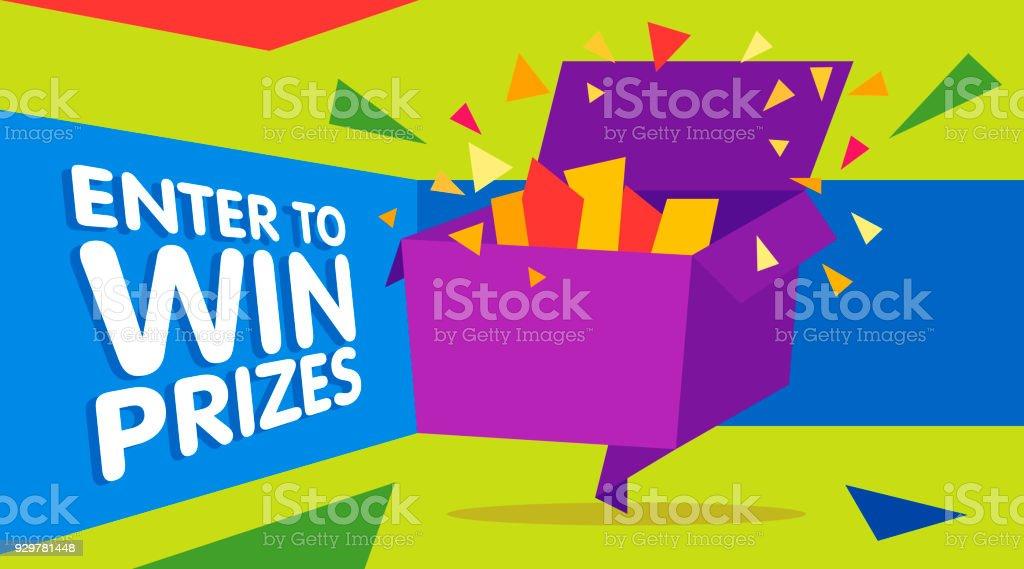 Enter to win prizes gift box. Cartoon origami style vector illustration vector art illustration