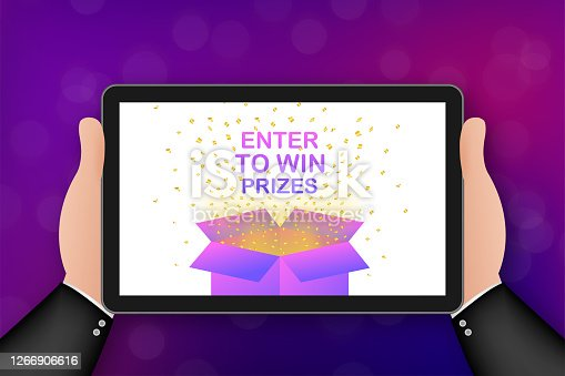 Enter to Win Prizes. Open Red Gift Box and Confetti. Vector stock Illustration