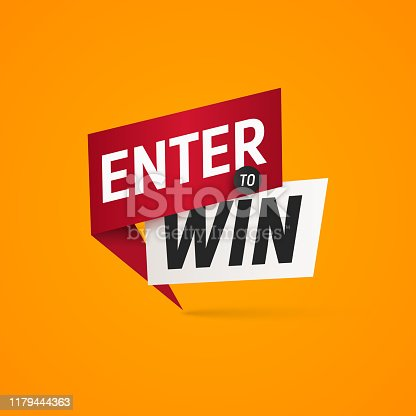 istock Enter to win prizes vector isolated sticker. Winner sign on yellow background design element 1179444363