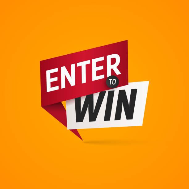 illustrazioni stock, clip art, cartoni animati e icone di tendenza di enter to win prizes vector isolated sticker. winner sign on yellow background design element - entrare