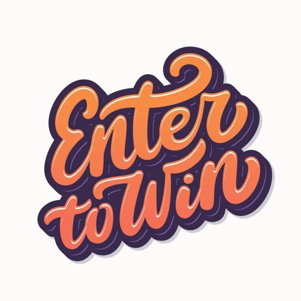 illustrazioni stock, clip art, cartoni animati e icone di tendenza di enter to win sign. - entrare