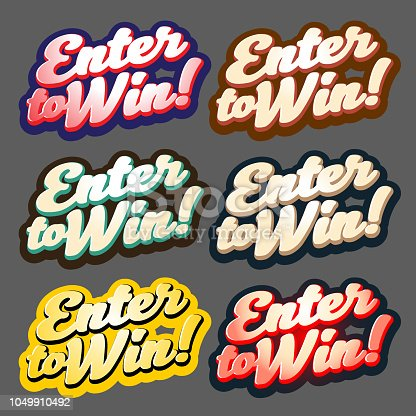 Vector of Enter to win Sticker Label set. EPS Ai 10 file format.