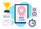 Vector illustration design template with smart device and enter to win text on its screen. Colorful web banner design with trendy decorations for corporate marketing or various vector illustrations.