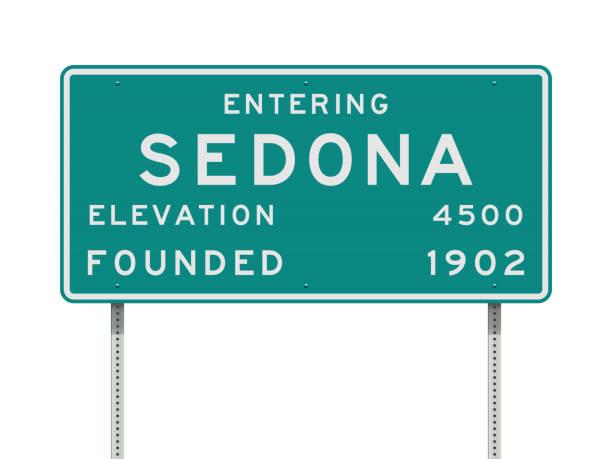 stockillustraties, clipart, cartoons en iconen met invoeren van sedona verkeersbord - arizona highway signs
