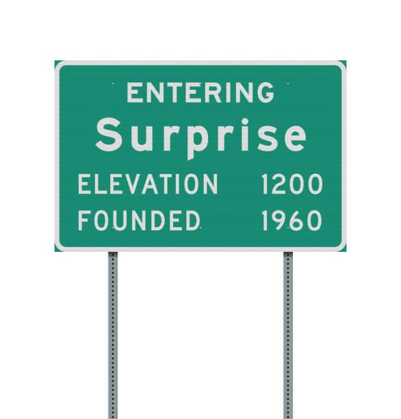stockillustraties, clipart, cartoons en iconen met het invoeren van surprise verkeersbord - arizona highway signs