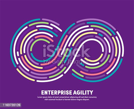 Modern clean style design of enterprise agility with conceptual infinite loop sign. Vector illustration design for infographics, banners, presentations or brochures.
