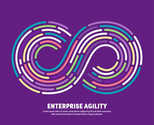 ilustrações de stock, clip art, desenhos animados e ícones de enterprise agility with infinity eternity symbol illustration - agilidade