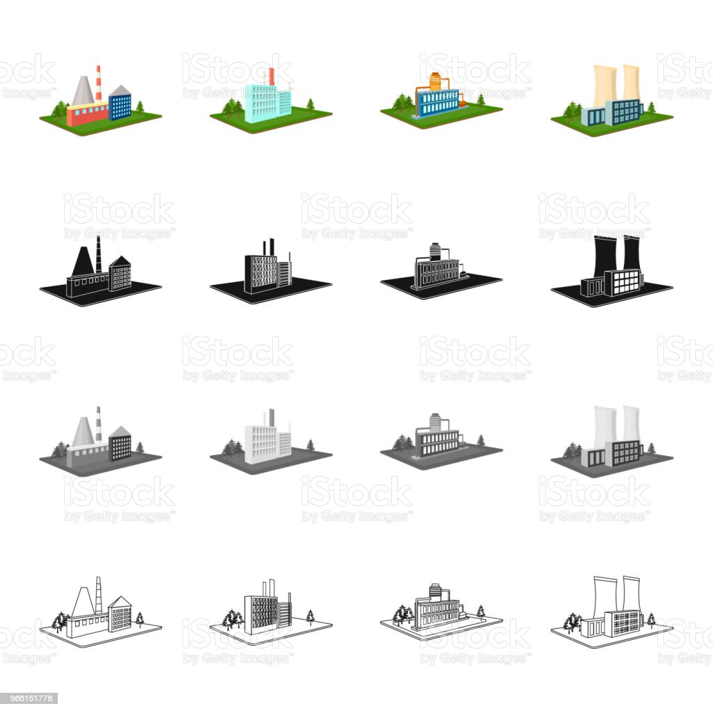 Enterprises, organization, company, and other web icon in cartoon style.Architecture, manufactory, plant icons in set collection. - Royalty-free Armazém arte vetorial
