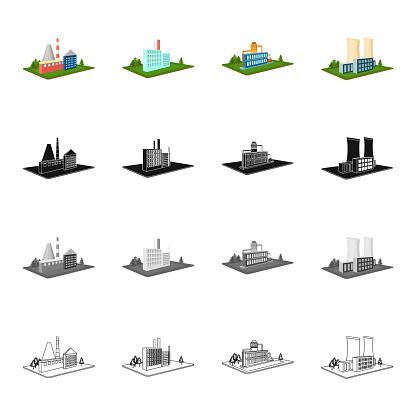 Bedrijven Organisatie Bedrijf En Andere Webpictogram In De Cartoon Stijl Architectuur Manufactory Plant Pictogrammen In Setcollectie Stockvectorkunst en meer beelden van Apparatuur
