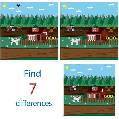 Entertaining task for children find differences in pictures, vector