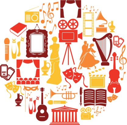 A set of culture and entertainment themed icons. See below for more leisure images.