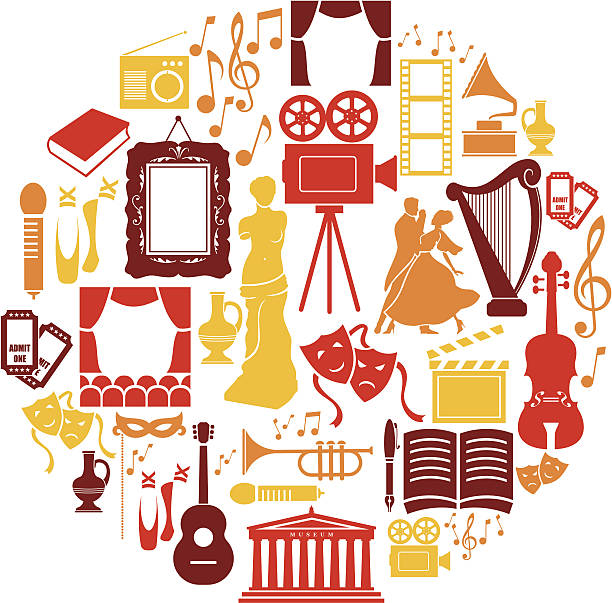 entertainment and culture icon set - gelenek stock illustrations