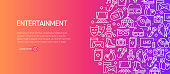 Entertainment and Hobbies Banner Template with Line Icons. Modern vector illustration for Advertisement, Header, Website.
