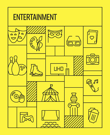 Entertainment and Hobbies Concept. Geometric Retro Style Banner and Poster Concept with Entertainment and Hobbies Line Icons