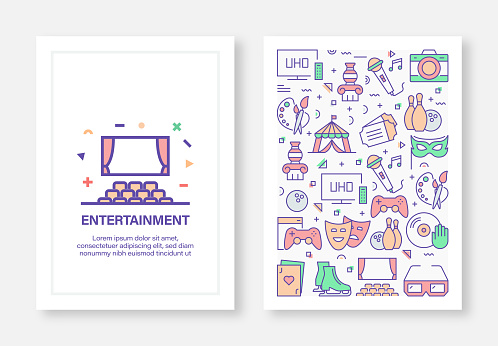 Entertainment and Hobbies Concept Line Style Cover Design for Annual Report, Flyer, Brochure.