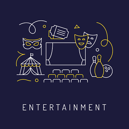 Entertainment and Hobbies Concept, Modern Line Art Icons Background. Linear Style Vector Illustration.