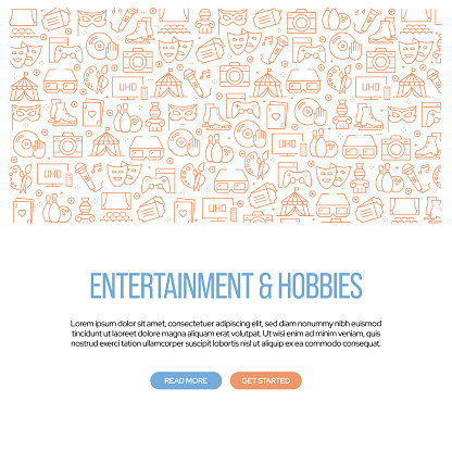 Entertainment and Hobbies Related Banner Design with Pattern. Modern Line Style Icons Vector Illustration