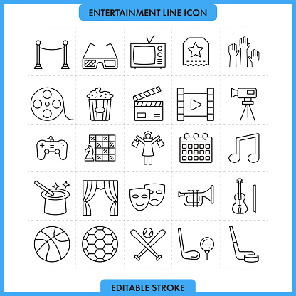 Entertainment and Media Line Icon Set. Editable Stroke