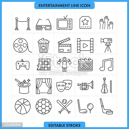 Entertainment and Media Line Icon Set. Editable Stroke