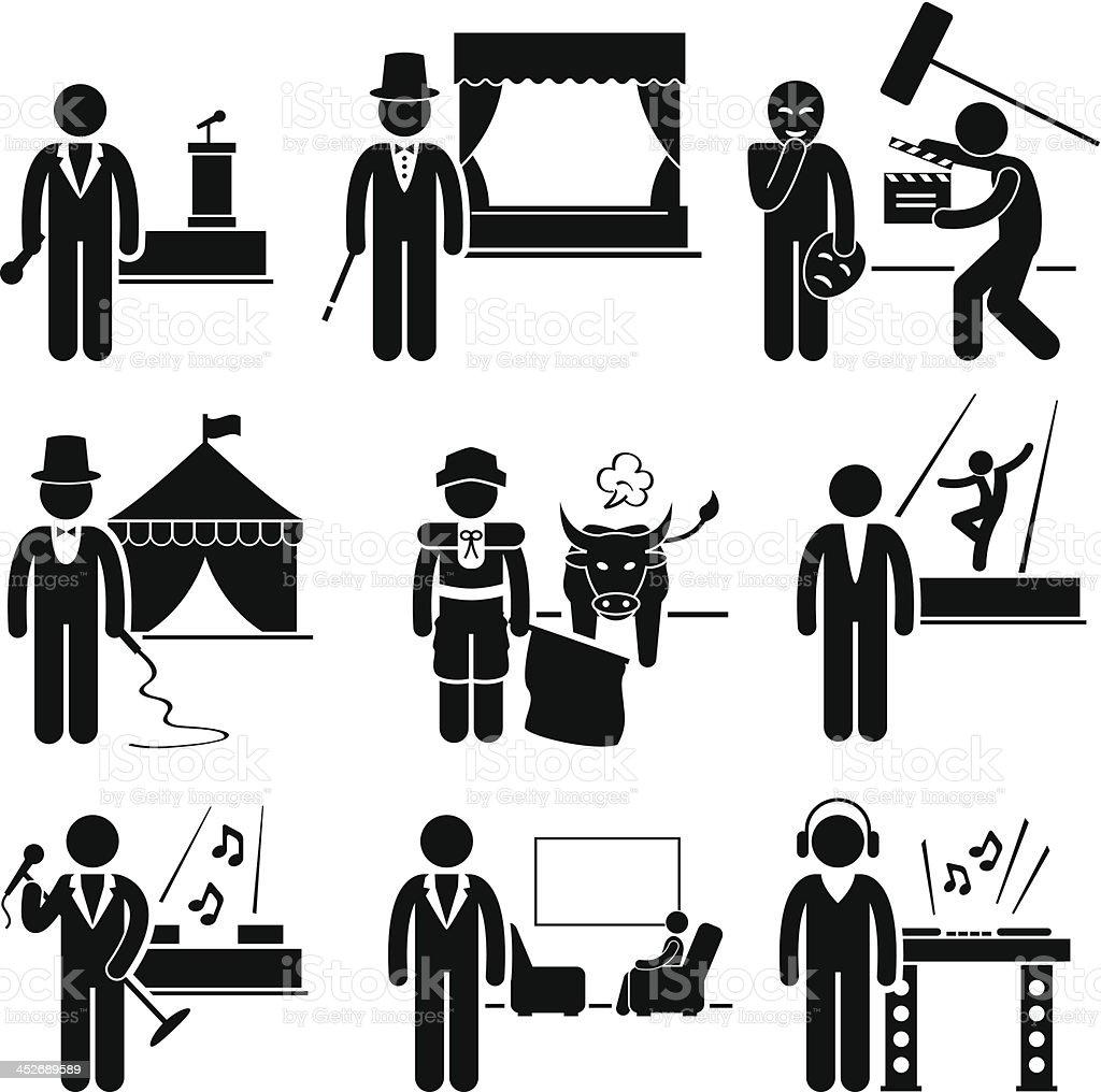 Entertainment Artist Jobs Occupations Careers vector art illustration