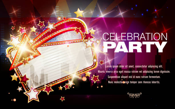 Entertainment Background with Marquee Display Entertainment Background with Marquee Display.Each element in a separate layers.Very easy to edit vector EPS10 file.It has transparency layers with blend effects. temps stock illustrations
