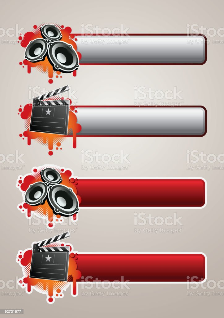 Entertainment banner set 01 vector art illustration