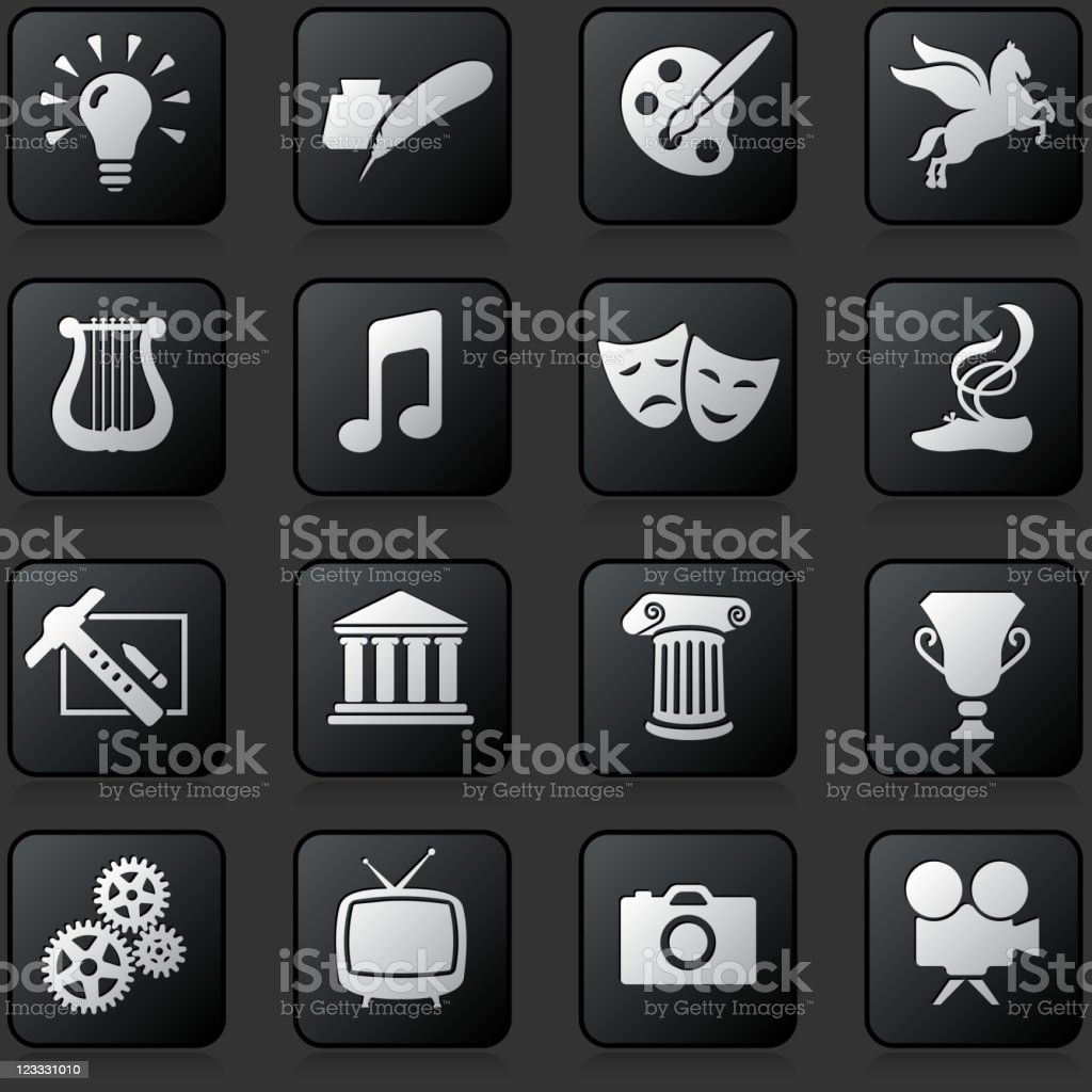 Entertainment button set on a dark Background vector art illustration
