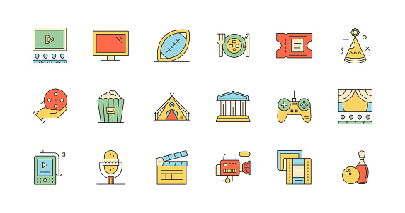 Entertainment, Clapperboard, Movie Camera, Film Strip, Popcorn, Ticket Icons