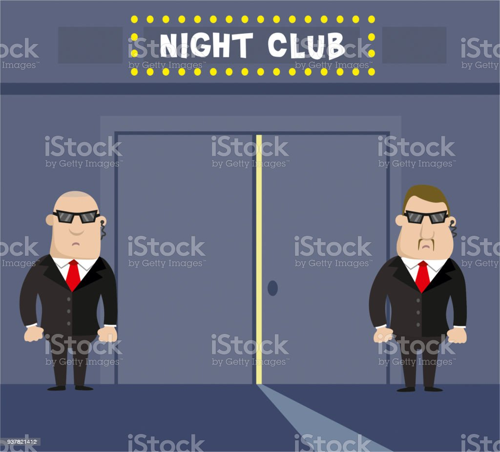 Entertainment club and two security vector art illustration